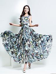 BORME® Damen Rundhalsausschnitt Ärmellos Maxi Kleid-Y028B