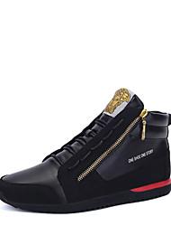 Men's Fashion Boots Leatherette Casual Flat Heel Zipper Black / White Snow Boots EU39-43