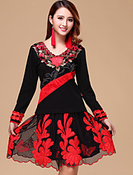 Latin Dance Outfits Women's Training Cotton/Tulle Embroidery 2 Pcs Black / Light Red Long Sleeve Natural Top / Skirt