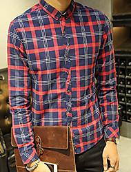 Men's Plaids Casual Shirt,Cotton Long Sleeve Blue / Red