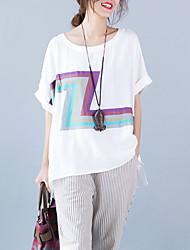 Mulheres Camiseta Casual Moda de Rua Verão,Estampado Branco / Preto Algodão / Linho Decote Redondo Manga Curta Fina