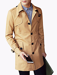 Men's Fashion Classical Solid Single-Breasted Slim Fit Mid-Long Trench;Cotton/Windbreaker/Solid