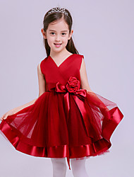 A-line Short / Mini Flower Girl Dress - Tulle V-neck with Flower(s)