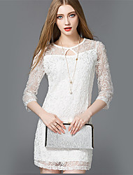 Mara Carol® Damen Rundhalsausschnitt 3/4 Ärmel Mini Kleid-5310103