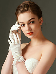 Wrist Length Fingertips Glove Elastic Satin Bridal Gloves with Bow / lace