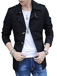 Men's winter jacket windbreaker jacket thin long sleeved cotton washed jacket slim long coat solid tide