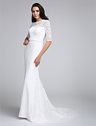 LAN TING BRIDE Trumpet / Mermaid Wedding Dress See-Through Court Train Jewel Lace with Lace