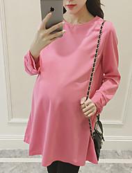Maternidad Corte Ancho Vestido Casual/Diario Bonito,Un Color Escote Redondo Sobre la rodilla Manga Larga Rosa Poliéster Verano / Otoño