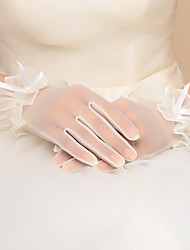Wrist Length Fingertips Glove Lace Bridal Gloves with Ribbon Bow / Ruffles