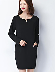 Women's Going out / Casual/Daily Simple Shift DressSolid Round Neck Above Knee Long Sleeve Plus Size