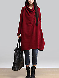 Women's Casual/Daily Vintage A Line / Loose Dress,Solid Asymmetrical Long Sleeve Red / Black / Gray Cotton Fall / Winter