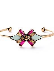Bohemian Rhinestone Cuff Bracelets Golden Multicolor Flower Bracelet Fashionable Geometric Alloy Jewellery