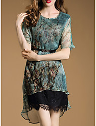 Women's Going out Sophisticated Loose Dress,Floral Round Neck Asymmetrical ½ Length Sleeve Green Rayon Spring