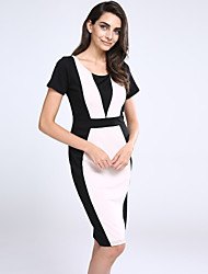 Women's Going out Vintage / Simple / Cute / Street chic A Line / Bodycon Dress,Patchwork Round Neck Knee-length Short SleeveRed / Beige /