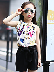 Girl's Casual/Daily Floral Clothing Set,Cotton Summer Black / White / Beige Suit