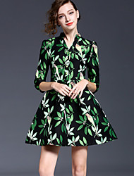JOJO HANS  Women's Going out Sophisticated Sheath DressFloral Stand Above Knee Sleeve Green Polyester