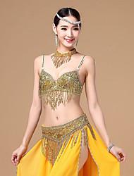Dança do Ventre Roupa Mulheres Actuação Algodão Poliéster Enfeites Borla(s) 3 Peças Sem Mangas CaídoNeckwear Conjuntos de Sutiã e