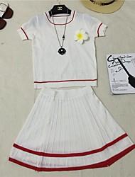 Mulheres Conjunto Casual Simples Verão,Jacquard Azul / Branco / Preto Algodão Decote Redondo Manga Curta Média