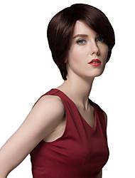 curta reta inclinada bang capless perucas de cabelo humano bonito