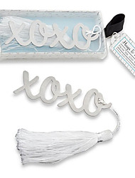 Beter Gifts® -1Piece/Set Silver-Metal XOXO Hugs & Kisses Bookmark with Elegant Tassel Party Souvenirs