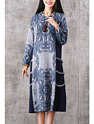 Women's Casual/Daily Vintage Tunic Loose Thin Dress,Print Stand Midi Long Sleeve Blue / Red Cotton / Linen Fall