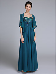 LAN TING BRIDE A-line Mother of the Bride Dress - Wrap Included Ankle-length Sleeveless Chiffon with Ruching Sequins