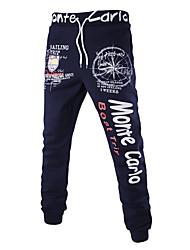 Hombre Sencillo Activo Tiro Medio Eslático Ajustado Pantalones de Deporte Pantalones,Delgado Pitillo Estampado