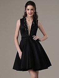 Cocktail Party Dress A-line V-neck Short / Mini Satin with Beading