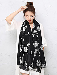 Women Vintage National Wind Solid Color Cotton Jacquard Embroidery Scarves Shawls