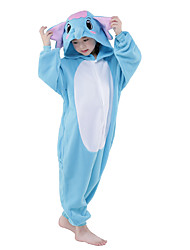 kigurumi Pyjamas New Cosplay® / Eléphant Collant/Combinaison Fête / Célébration Pyjamas Animale Halloween Bleu Ciel Mosaïque Flanelle