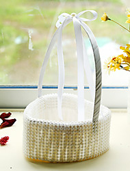 White Pearl Heart Shape Decoration Flower Basket for Wedding Party(17*24cm)