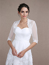 Women's Wrap Shrugs Half-Sleeve Lace Ivory Wedding / Party/Evening Scoop  Draped / Lace Open Front