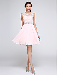 TS Couture® Cocktail Party Dress A-line Jewel Knee-length Chiffon / Lace with Beading / Lace
