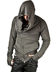 Pull à capuche & Sweatshirt Pour des hommes Couleur plaine Décontracté Coton / Polyester Manches longues Noir / Gris