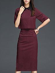 Set Jupe Costumes Femme,Rayé Décontracté / Quotidien simple Automne ½ Manches Col de Chemise Rouge Coton Moyen