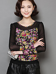Women's Casual/Daily Vintage Fall Blouse,Floral Round Neck Long Sleeve Blue Polyester Thin