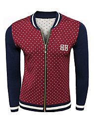 Men's Polka Dot Casual Cardigan,Wool Long Sleeve Blue / Red