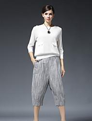 твердый / полосатый серый свободно pantssimple Stephanie женщин