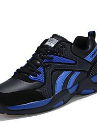 Unissex-Tênis-Conforto-Rasteiro-Azul Preto e Vermelho Preto e Branco-Couro Ecológico-Casual