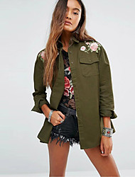 Women's Casual/Daily Simple Spring ShirtEmbroidered Shirt Collar Long Sleeve Green Cotton Medium