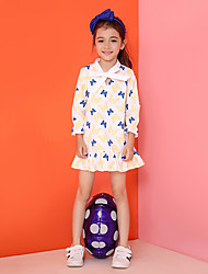 Girl's Casual/Daily Print Dress,Cotton Spring / Fall White