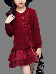 Girl's Casual/Daily Solid Sweater & Cardigan,Cotton Spring / Fall Black / Red