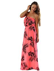 Women's Beach / Holiday Sexy Sheath Dress,Print Off Shoulder Maxi Sleeveless Red Polyester Summer