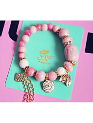 Women's Circle Pink Ceramic Strand Bracelets 1pc