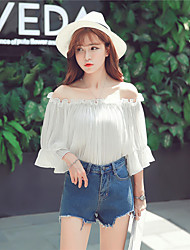 Women's Casual/Daily Cute Summer / Fall Blouse,Solid Off Shoulder ¾ Sleeve Pink / White Polyester Thin