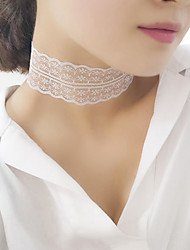 Women Korean Fashion Elegant Hollow Pattern White Lace Necklace Jewelry 1pc
