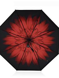 Preta Guarda-Chuva Dobrável Ensolarado e chuvoso têxtil Viagem / Lady / Masculino