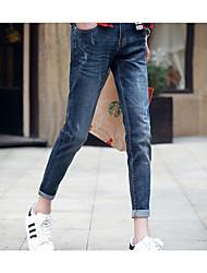 Jeans Pour des hommes Couleur plaine Décontracté Coton Bleu
