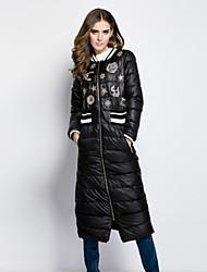 sonhador das mulheres à terra sólida / cópia branca / casaco para baixo preto, carrinho simples de manga comprida