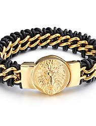 kalen® couro retro nova chegada&316L 18k de aço inoxidável dubai lobo ouro pulseiras mens dom de jóias por atacado